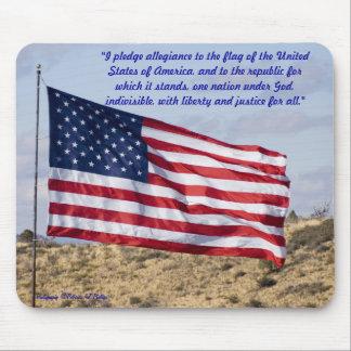 American Flag Over High Desert Mouse Pad