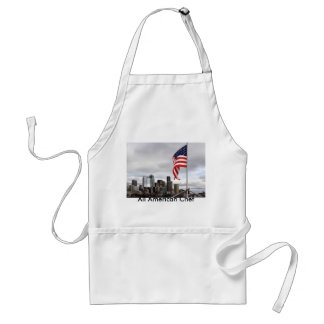 American Flag over Seattle Adult Apron