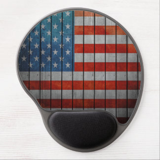 American Flag Painted Fence Gel Mouse Pad