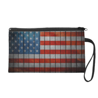 American Flag Painted Fence Wristlet Purse