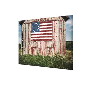 American flag painted on barn canvas print
