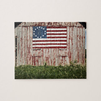American flag painted on barn jigsaw puzzle