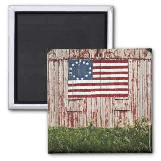 American flag painted on barn magnet