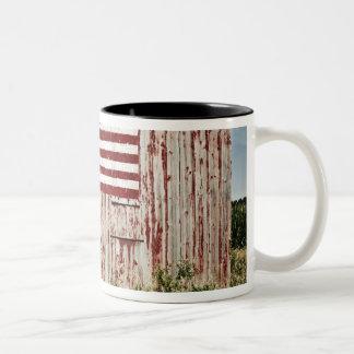 American flag painted on barn coffee mugs