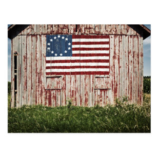 American flag painted on barn postcard
