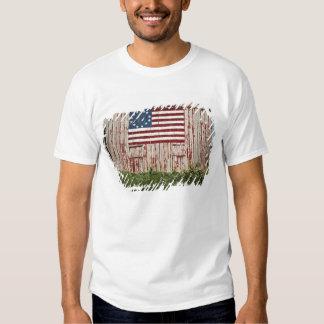 American flag painted on barn shirt
