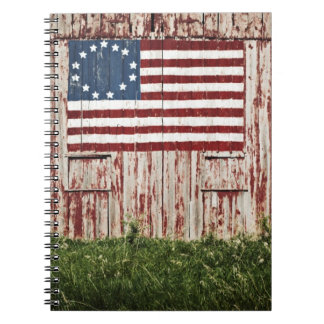 American flag painted on barn spiral notebook