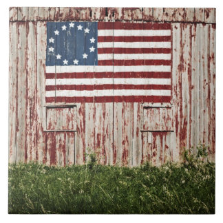 American flag painted on barn large square tile
