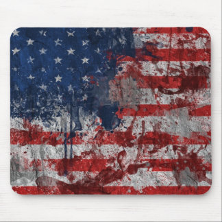American Flag Painted on Grunge Wall Mouse Pad