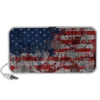 American Flag Painted on Grunge Wall Speakers