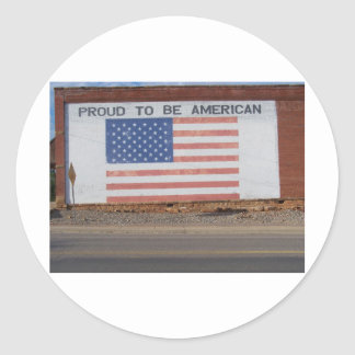 American Flag painted on old building Classic Round Sticker