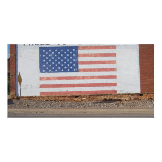 American Flag painted on old building Custom Photo Card