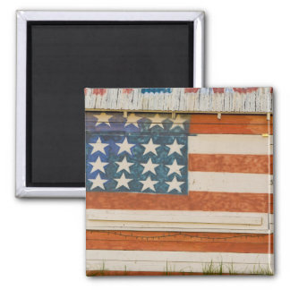 American flag painted onto fireworks stand near 2 inch square magnet