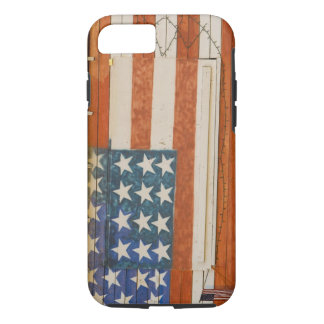 American flag painted onto fireworks stand near iPhone 7 case