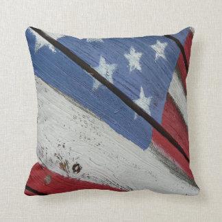 American Flag Painted Wood Grain Pillow