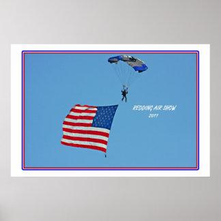 ~ American Flag Parachuter ~ Poster