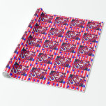 American Flag Patriotic 4th of July Party Gift Wrap Paper