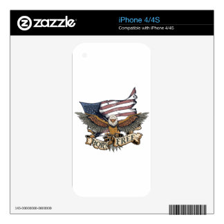 American Flag Patriotic Bald Eagle Born Free Skin For The iPhone 4