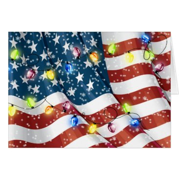 American Flag Patriotic Christmas Card