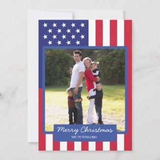 American Flag Patriotic Christmas Family Photo Holiday Card