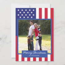 American Flag Patriotic Christmas Family Photo Holiday Card