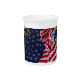 American Flag Patriotic Flower Bouquet Beverage Pitcher
