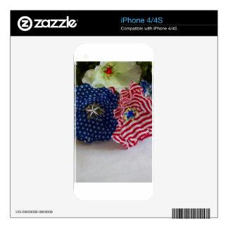 American Flag Patriotic Flower Bouquet iPhone 4S Skins