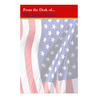 American Flag Patriotic Gift for Soldiers Stationery