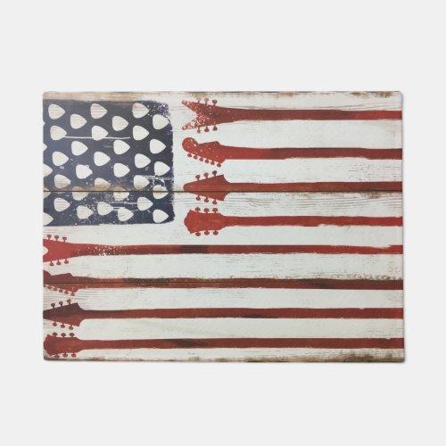 american Flag patriotic Guitar Music door mat