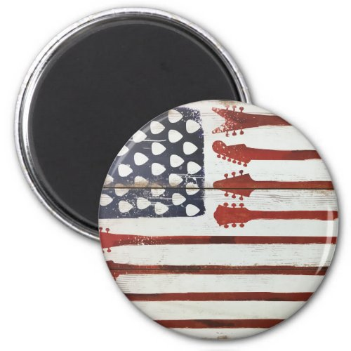 American Flag Patriotic Guitar Music Theme Round Magnet