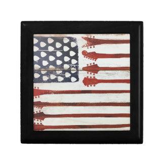 American Flag patriotic Guitar Music theme Keepsake Box