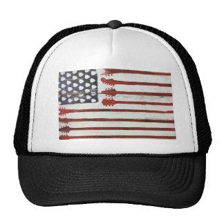 American Flag patriotic Guitar Music theme Trucker Hat