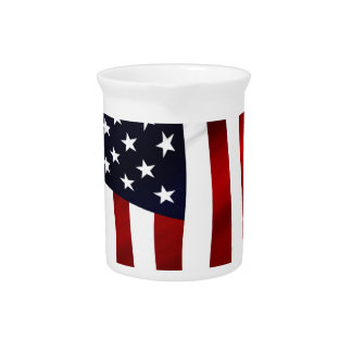 American Flag Patriotic Independence Day Beverage Pitcher