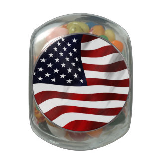 American Flag Patriotic Independence Day Glass Candy Jars