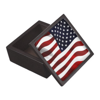 American Flag Patriotic Independence Day Jewelry Box