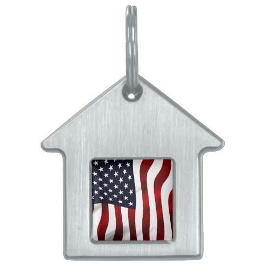 American Flag Patriotic Independence Day Pet ID Tag