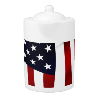 American Flag Patriotic Independence Day Teapot