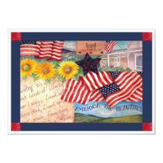 AMERICAN FLAG PATRIOTIC 5X7 PAPER INVITATION CARD