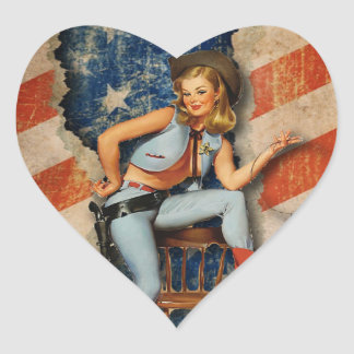 American Flag Patriotic Naughty PinUp CowGirl Heart Sticker