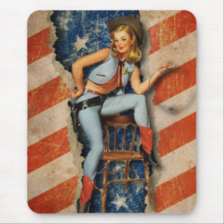 American Flag Patriotic Naughty PinUp CowGirl Mouse Pad