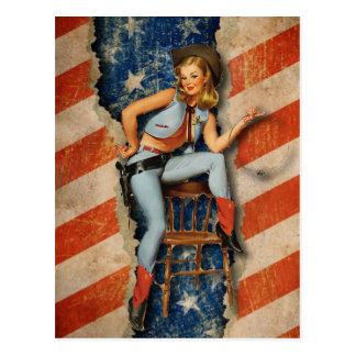 American Flag Patriotic Naughty PinUp CowGirl Postcard