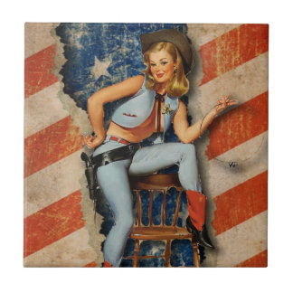 American Flag Patriotic Naughty PinUp CowGirl Tile