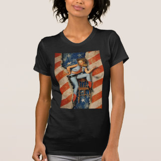 American Flag Patriotic Naughty PinUp CowGirl Shirt