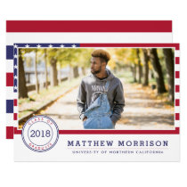 American Flag | Patriotic Photo Graduation Party Card