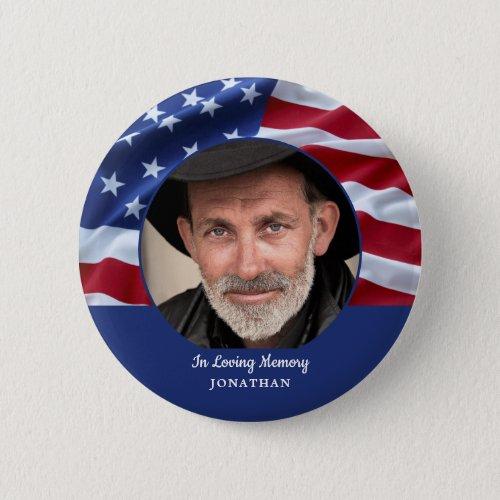 American Flag Patriotic Photo Memorial Funeral  Button