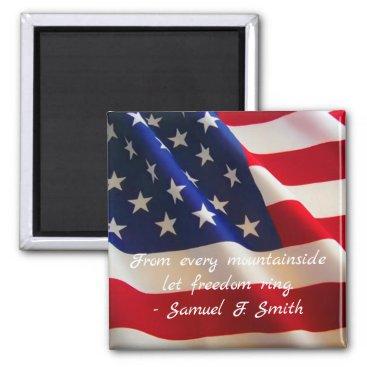 American Flag Patriotic Quote Magnet