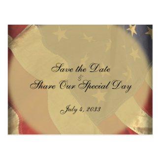 American Flag Patriotic Save the Date Postcard