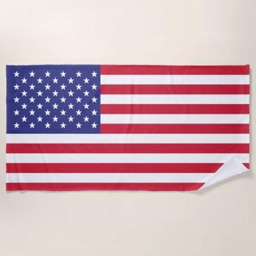 American Flag Patriotic Stars and Stripes Beach Towel