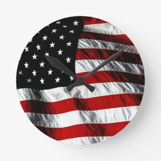 American Flag Patriotic Wall Clock - Black