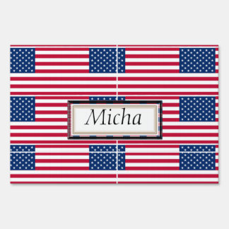 American Flag Pattern Monogram Yard Sign